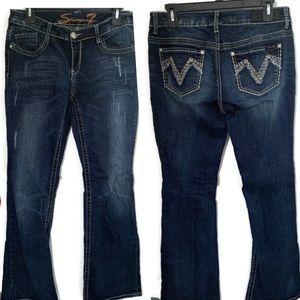 Seven7 Dark Wash Distressed Jeans.